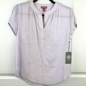 NWT VINCE CAMUTO Lilac and White Split-Neck Top XS